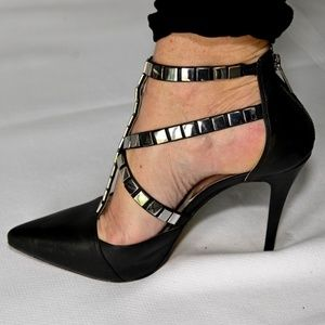Michael Kors Black Leather & Silver Strappy Heels